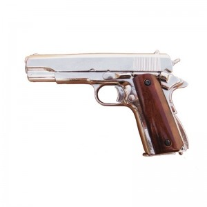 Pistolet DENIX COLT 1911 nickelé crosse en bois