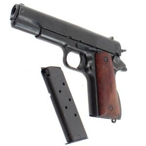 Pistolet DENIX Colt 45 1911, crosse en bois lisse