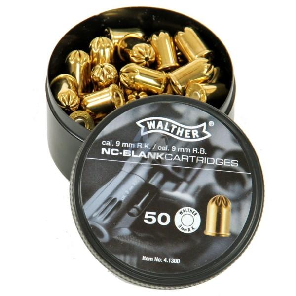50 munitions à blanc WALTHER : calibre 9 mm R