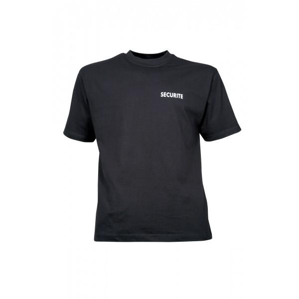 T-shirt SECURITE noir avec marquage blanc