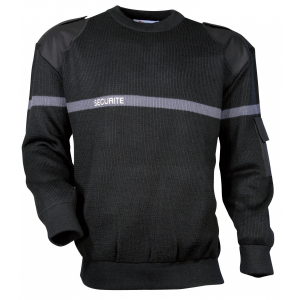 Pull SECURITE noir avec bande grise brodée