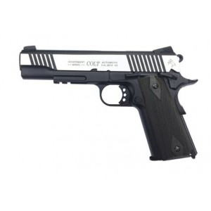 PIST. CO2 COLT 1911 RAIL GUN SERIES DUAL TONE BICOLOR CAL. 6 MM FULL MÉTAL-Armurerie gare de l'est Paris