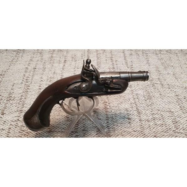 PISTOLET a silex 2 canons a canon a bourrelet a la bouche juxtapose bois (1)