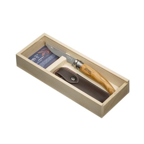 Couteau pliant effilé OPINEL N°10 Plumier, à lame en acier inoxydable et manche en bois olivier avec ETUI