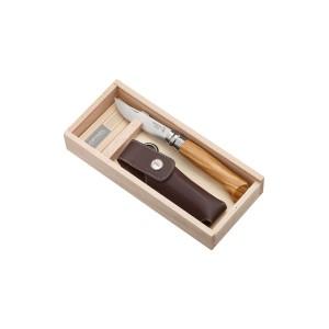 Couteau fermant OPINEL N° 08 Plumier, à lame en acier inoxydable et manche en bois olivier avec ETUI